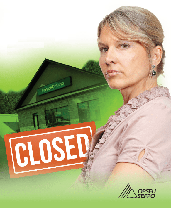 """Woman looking resolved standing in front of a ServiceOntario building with a """"Closed"""" sign."""