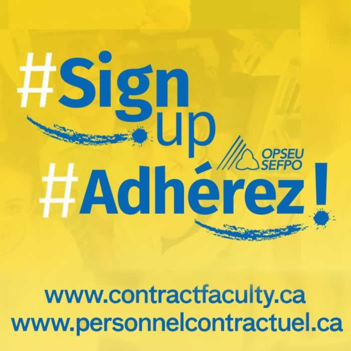 Sign up: Contract Faculty, Adherez personnel contractuel