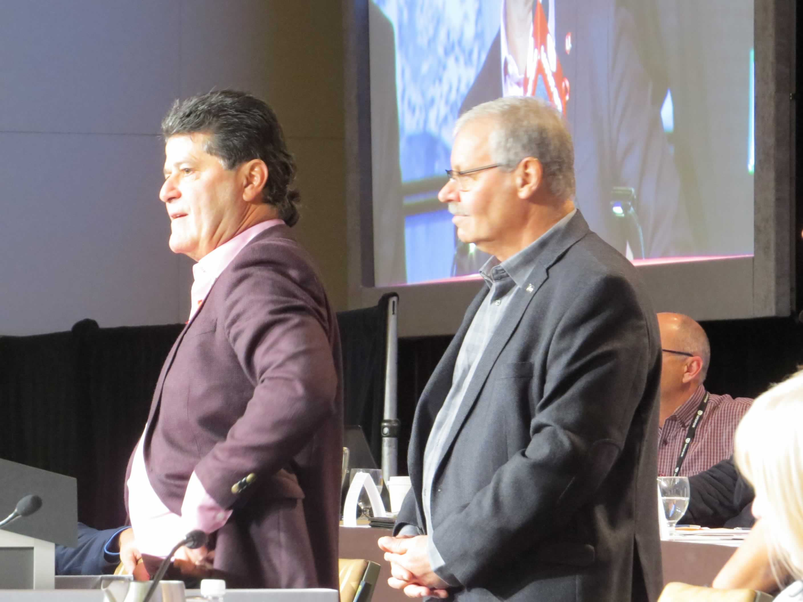 OPSEU President Warren (Smokey) Thomas with UNIFOR National President Jerry Dias