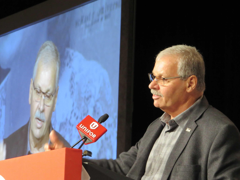 OPSEU President Warren (Smokey) Thomas speaking at meeting with UNIFOR