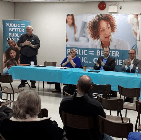 Len Elliott Regional VP of OPSEU, Shirley Roebuck of the Ontario Health Coalition, Councillor Brian White and Former MPP Rosario Marchese talk Privatization during the We Own It town hall in Sarnia.