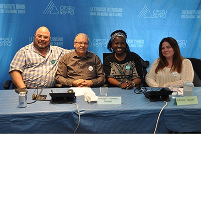 OPSEU President Warren (Smokey) Thomas and First Vice-President/Treasurer Eduardo (Eddy) Almeida with other panelists for the We Own It telephone town hall, Feb 28, 2017