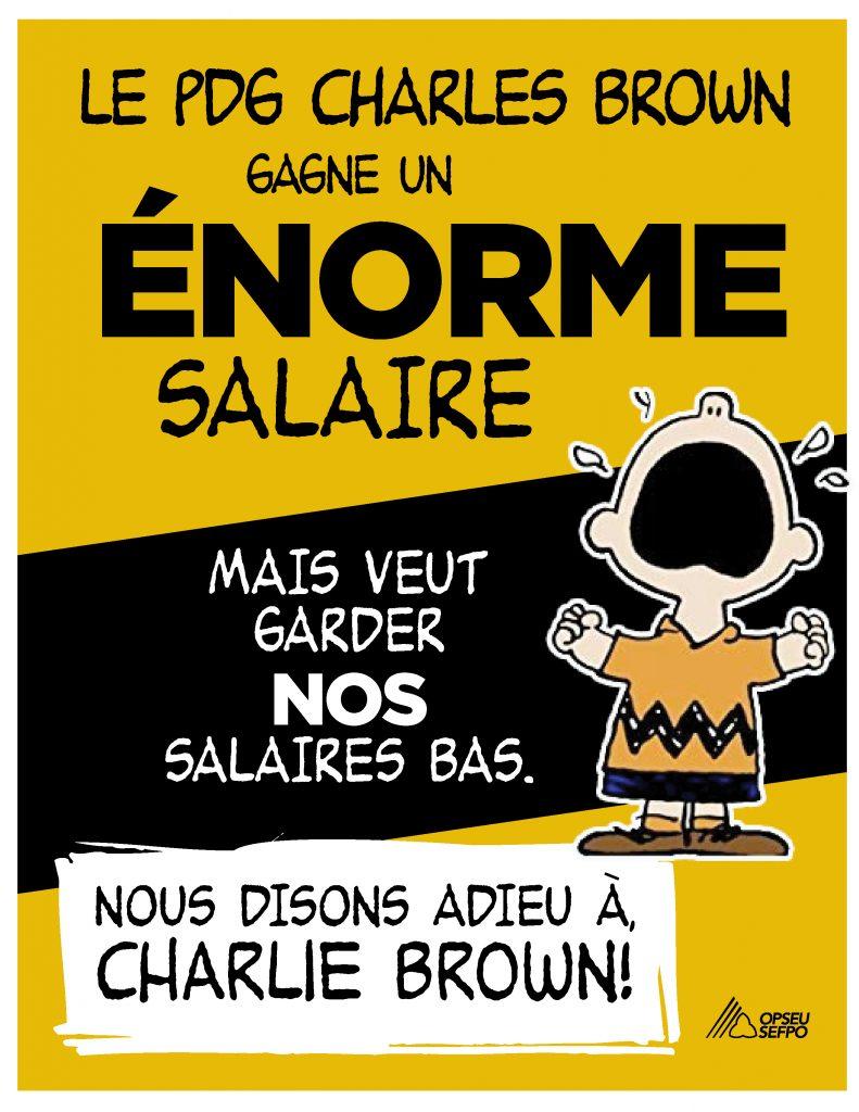 Les membres du SEFPO veulent dire adieu au PDG de LifeLabs, Charlie Brown!