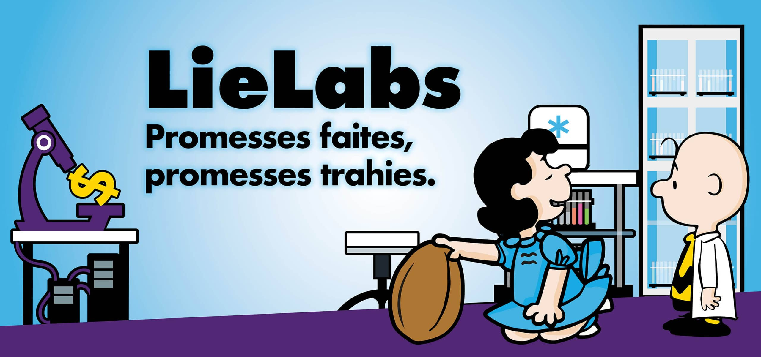 Lie Labs cartoon with lucy and Charlie Brown