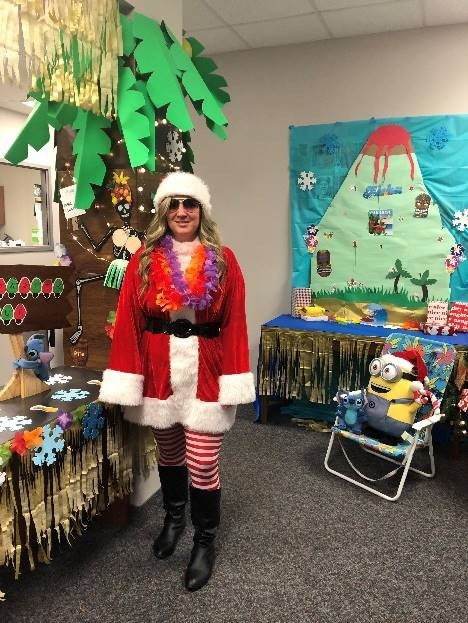 Debbie Garlick dressed up for holiday party