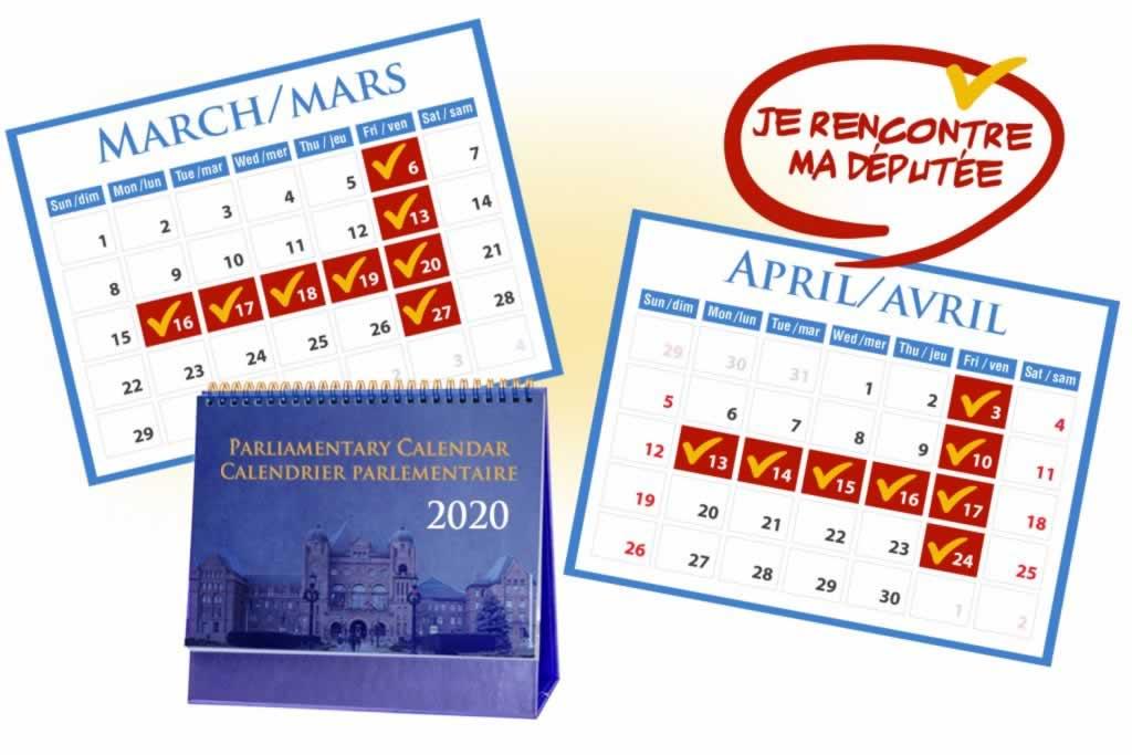 Calendriere parelementaire mars et avril