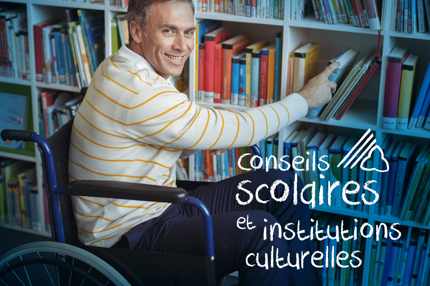 conseils scolaires et instituions culturelles. Man in wheelchair, accessing book in library.