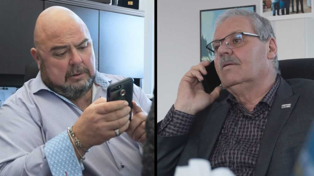 Two photos: one of Warren (Smokey) Thomas, one of Eddie Almeida, both on the phone