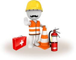 Cartoon Graphic of person wearing safety vest, hardhat, emergency kit