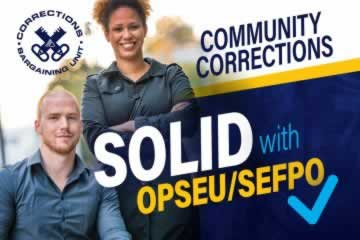 Community Corrections, solid with OPSEU/SEFPO. Corrections Logo