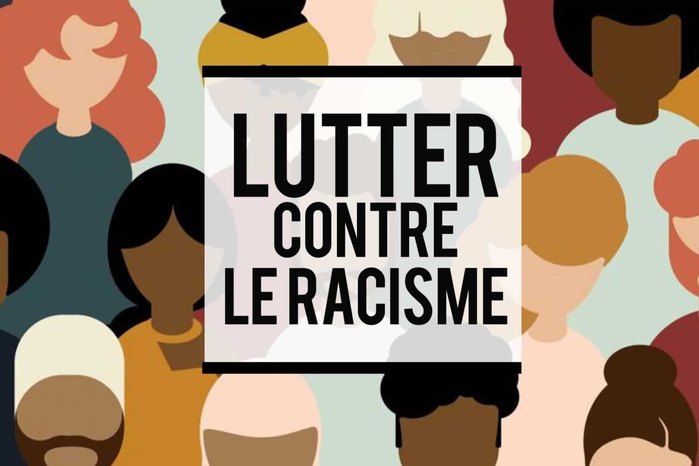 Plusieurs visages de diverses origines et couleurs pour illustrer le slogan de la campagne antiraciste du syndicat : Lutter contre le racisme