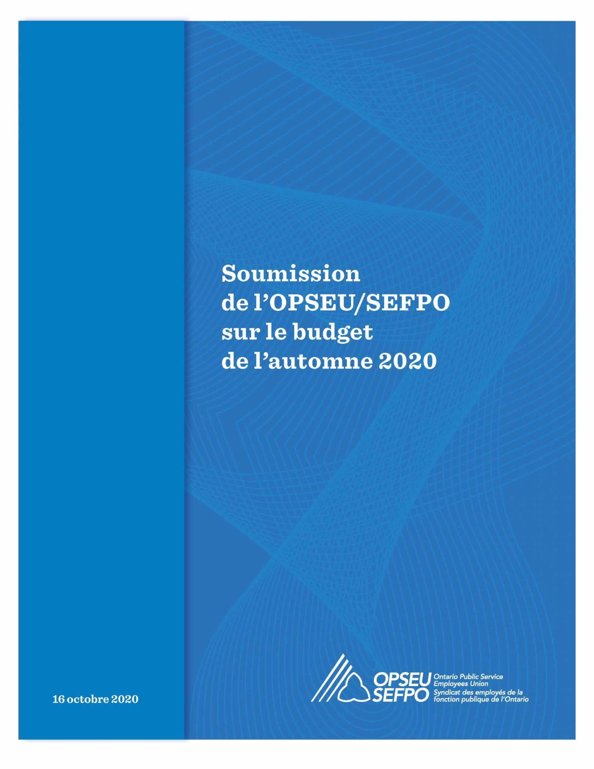 Page de couverture bleue avec le titre de la soumission prébudgétaire du SEFPO