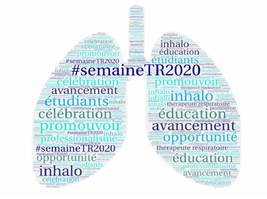Deux poumons couverts de mots importants pour célébrer la Semaine des thérapeutes respiratoires