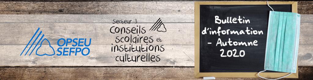 Bulletin d'information du Secteur 3 de l'OPSEU/SEFPO – Automne 2020 – Conseils scolaires et institutions culturelles