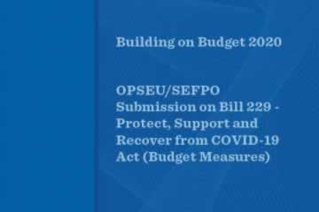 Building on Budget 2020 – OPSEU/SEFPO Submission on Bill 229
