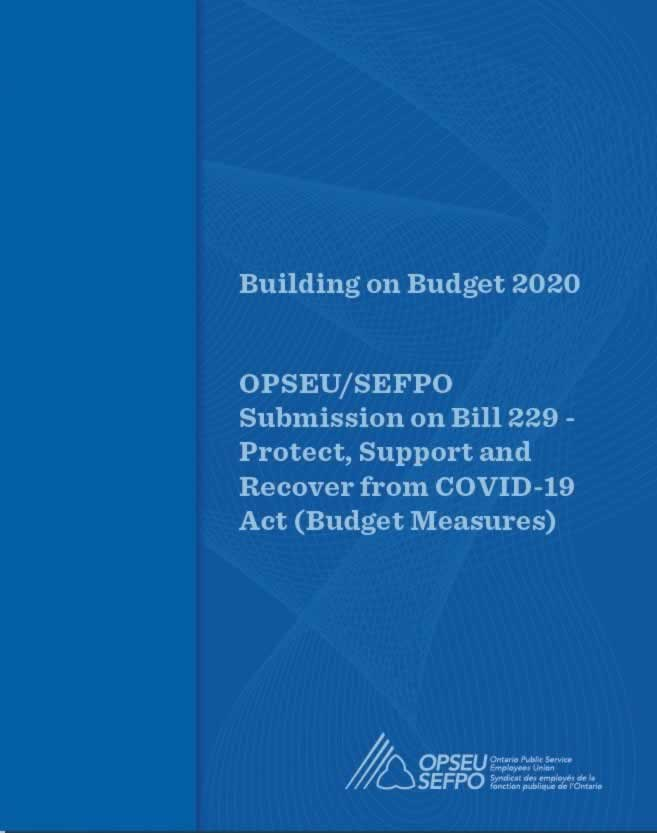 Building on Budget 2020 - OPSEU/SEFPO Submission on Bill 229