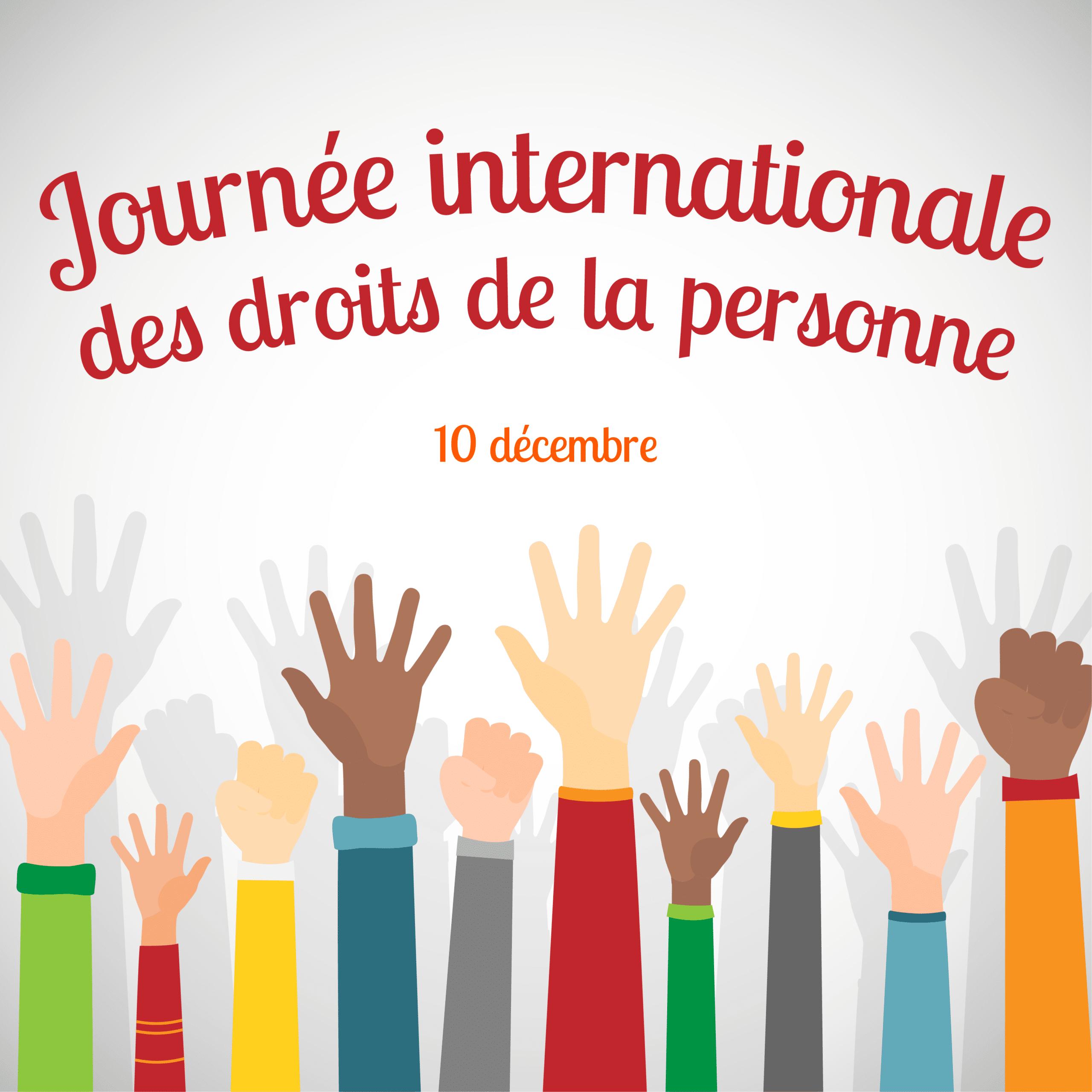 Des bras tendus vers le ciel pour célébrer la Journée internationale des droits de la personne, le 10 décembre