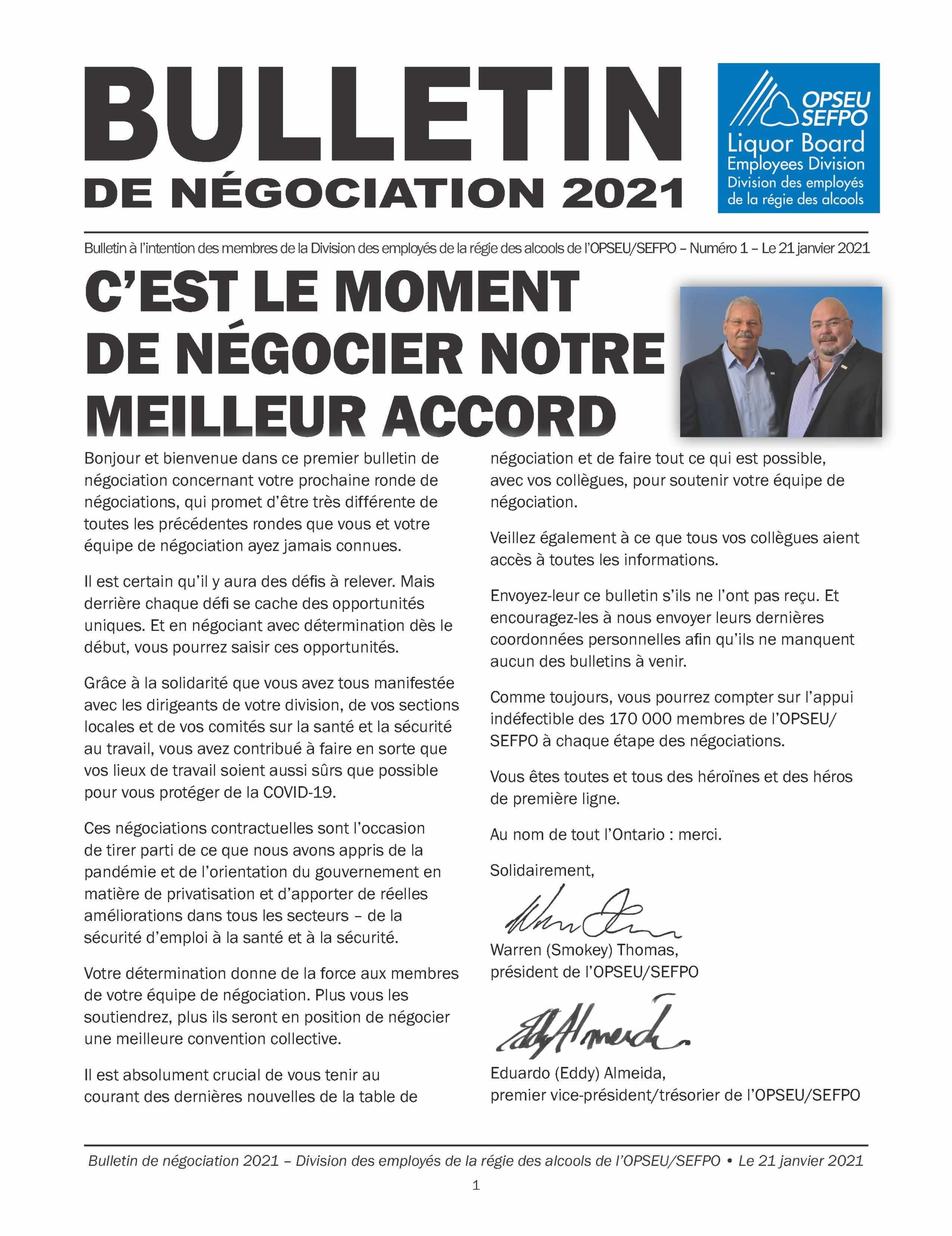 Bulletin de Negociation 2021. C'est le moment de negocier notre meilleur accord