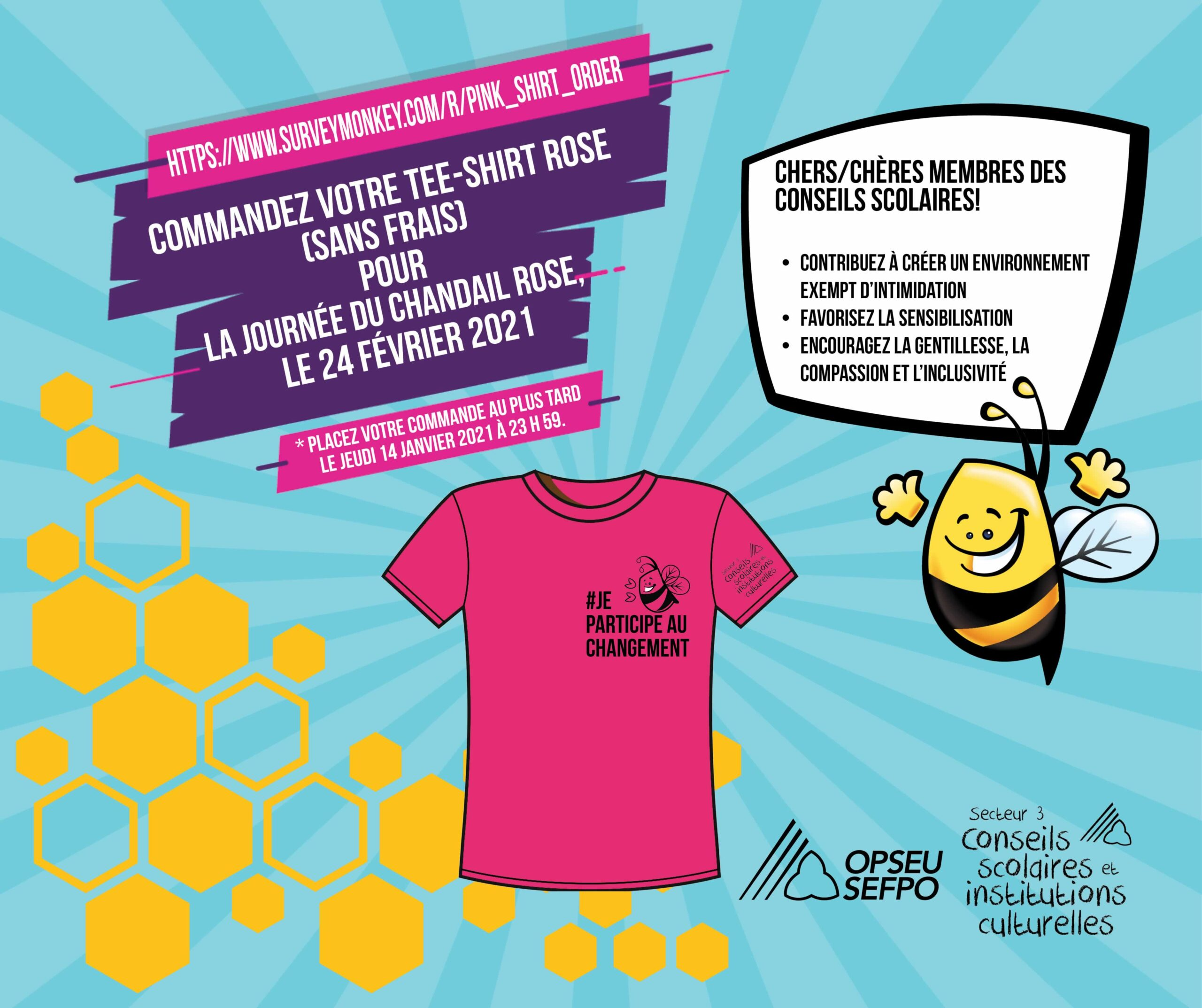 Commandez Votre Tee-Shirt Rose (sans frais) pour la journee du chandail rose, le 24 fevrier 2021