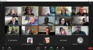 People smiling on a video call
