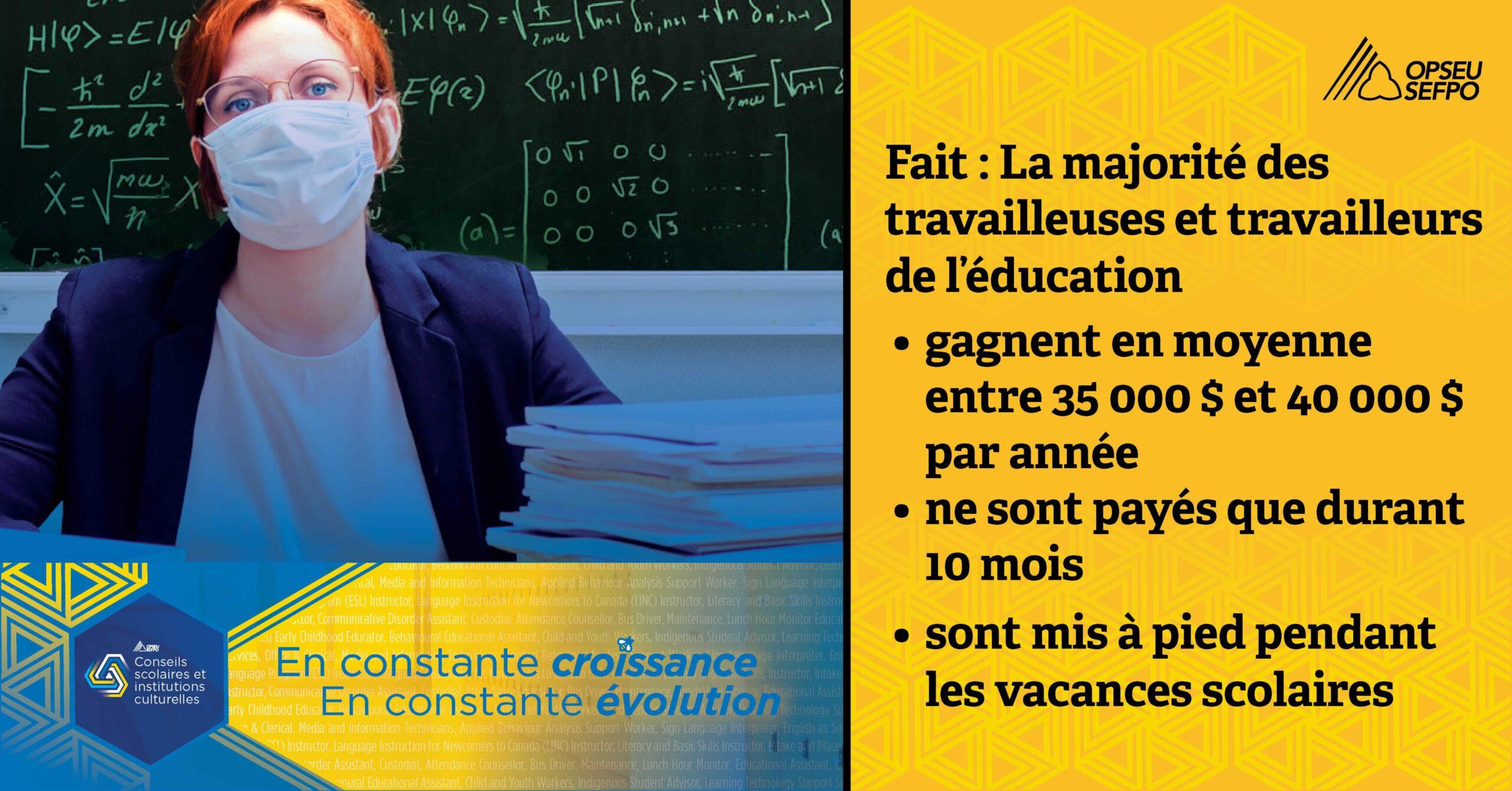 FAIT : La majorité des travailleuses et travailleurs de l'éducation, gagnent en moyenne entre 35 000 $ et 40 000 $ par année, ne sont payés que durant 10 mois, sont mis à pied pendant les vacances scolaires
