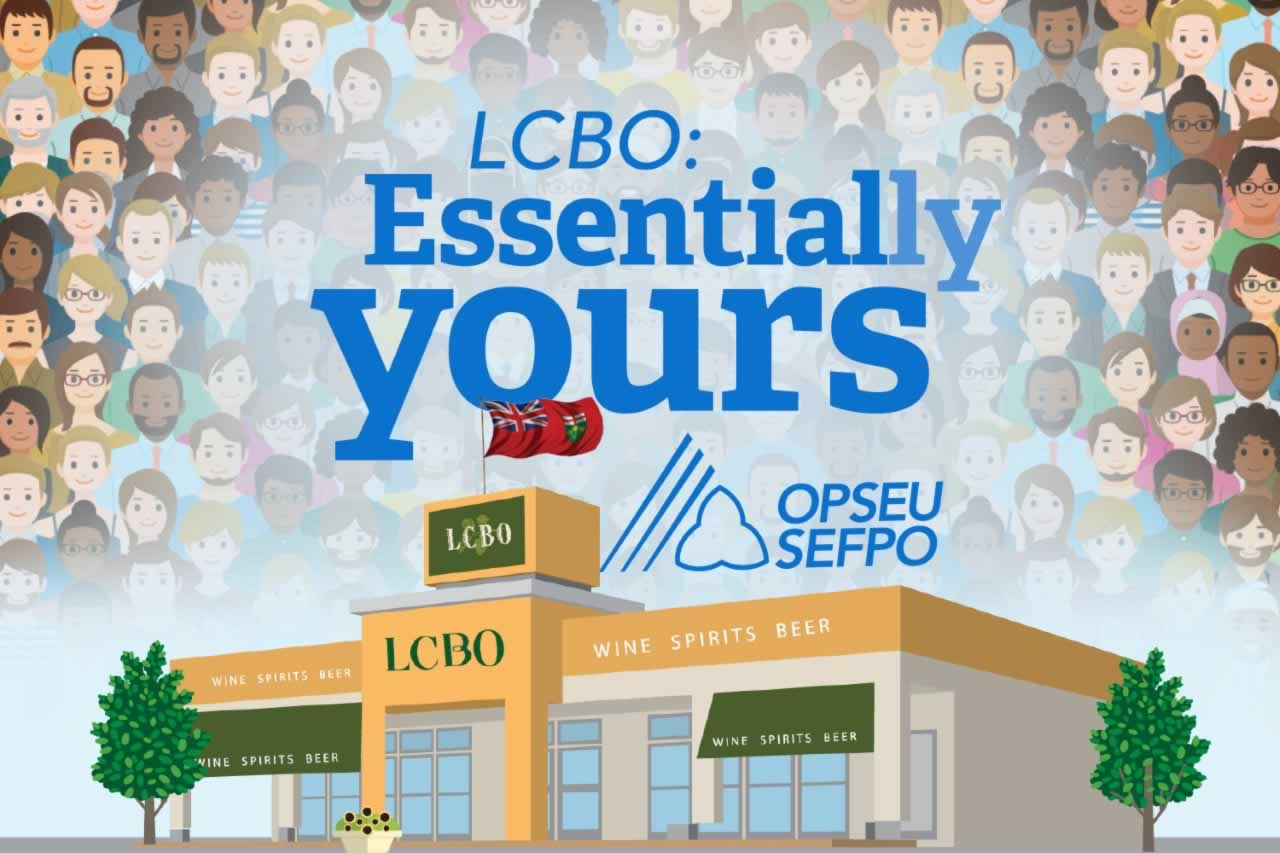 LCBO: Essentially Yours over an illustration of dozens of people behind an LCBO store