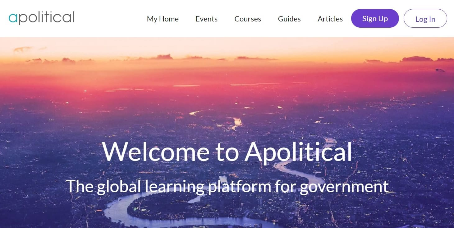 Apolitical Website. Welcome to Apolitical - the global learning platform for government