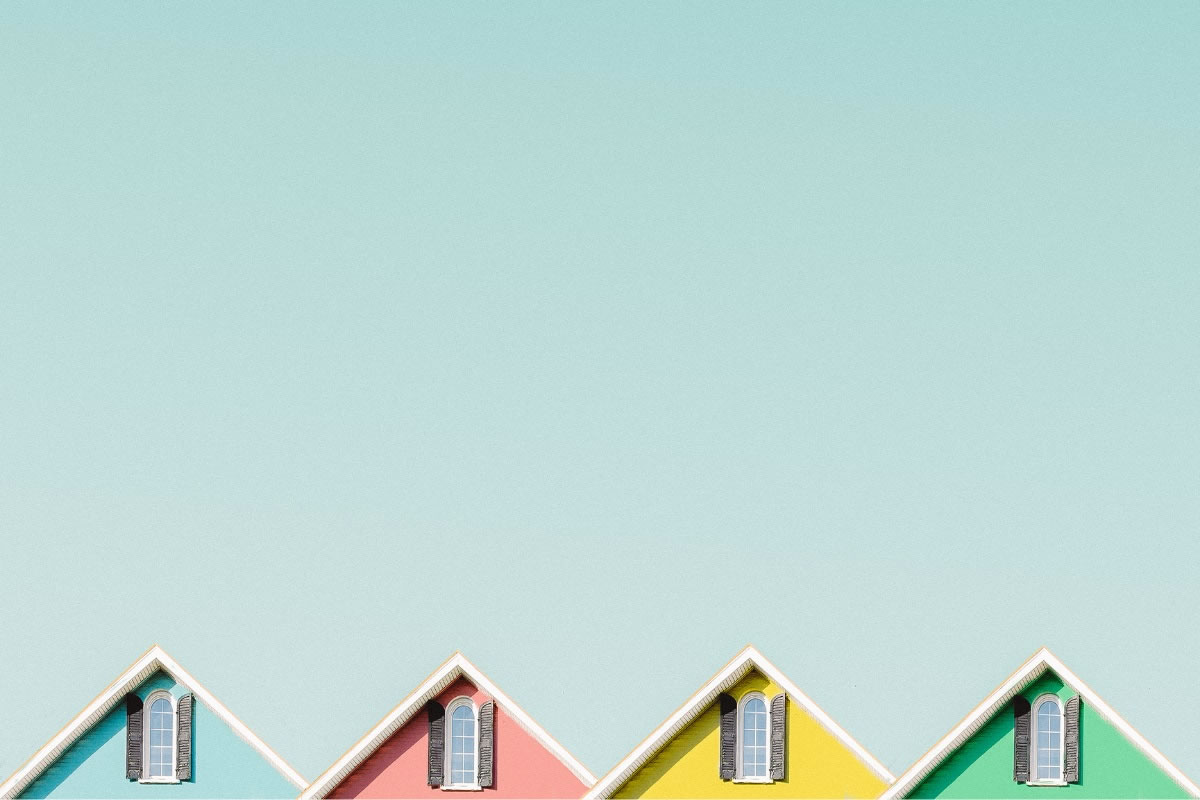Houses in four colours illustration