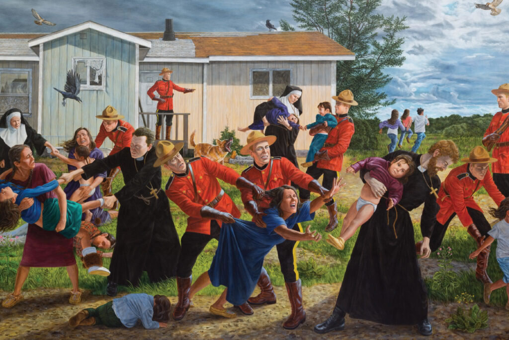 colourful Indigenous scene from 19th century depicting the catholic church separating young indigenous children from their parents and community