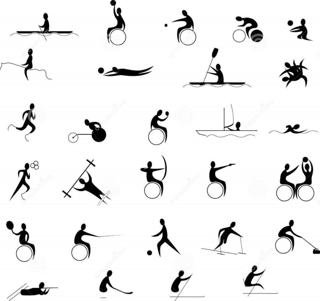 Graphic featuring 30 illustrations of people playing a variety of Paralympic sports.